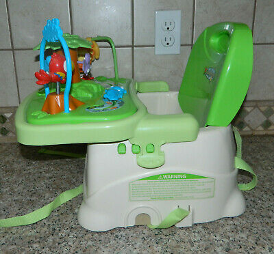 FISHER PRICE Rainforest Folding Portable Healthy Care BOOSTER SEAT Removable Toy