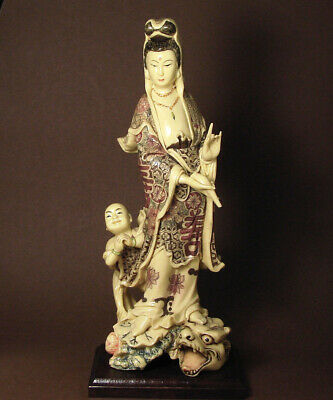 Handcrafted Polystone Ceramic Standing Kwun Yin with Dragon Kid Carving PS0077