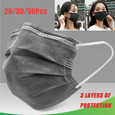 Disposable Face Mask 3-Ply Earloop Activated Carbon Filtration Mouth Cover