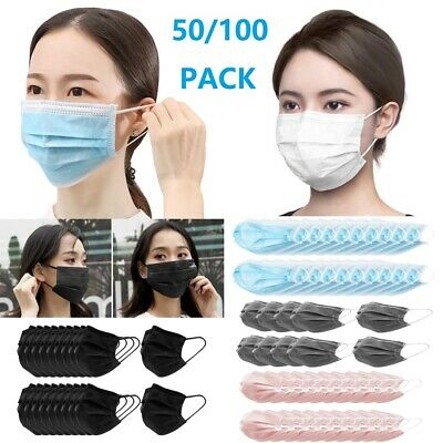 50/100Pcs Disposable Face Mask 3 Layers Earloop Mouth Cover Anti-Dust Protective