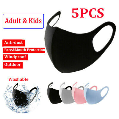 5PCS Adult Kids Face Mask Reuseable & Washable Outdoor Protection Mouth Muffles