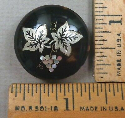 GRAPES & LEAVES, Antique Stud-Style BUTTON,  Natural Horn w/ MOP + Silver Inlay