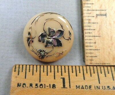 VICTORIAN GLASS BUTTON #3, 1800s Tan w/ Great Embossed / Painted Flower Detail