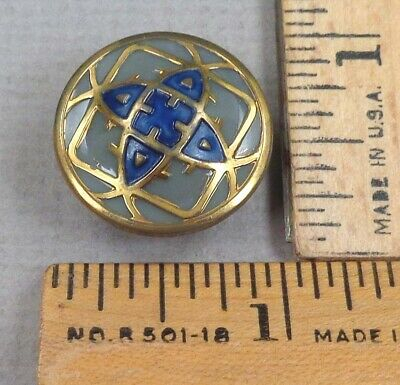 VICTORIAN GLASS BUTTON #30, 1800s Gray w/ Embossed, Painted, Geometric Detail