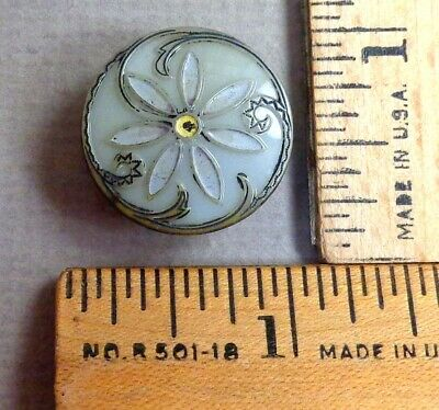 VICTORIAN GLASS BUTTON #33, 1800s Gray w/ Embossed, Painted, Geometric Detail
