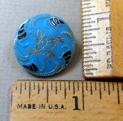 VICTORIAN Turquoise GLASS BUTTON #10, 1800s, Beautiful Embossed, Painted Detail