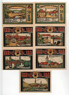 1922 Corbach Germany Notgeld - Lot of seven different 50 and 100 pfennigs set #1