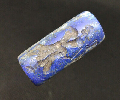 Old Lapis Lazuli Intaglio Human Meeting Rolling Stamp Seal Tube Bead BC501