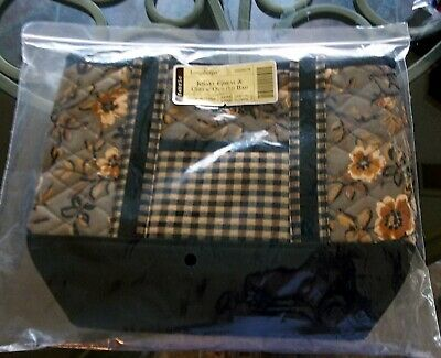 Longaberger FABRIC TOTE / LUNCH BOX - KHAKI FLORAL, CHECK, BLACK - NEW  - NICE!