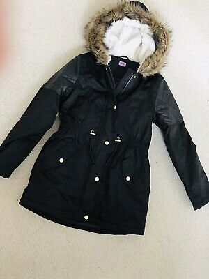 Brand New Dark Brown Hooded Long Coat With Fluffy Hood From F&F, 11-12 Years