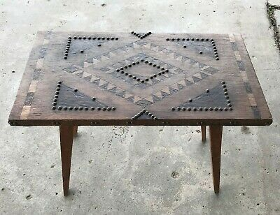 Table Wooden Marquetry And Stud, Popular Art, Style Forest Black 1970