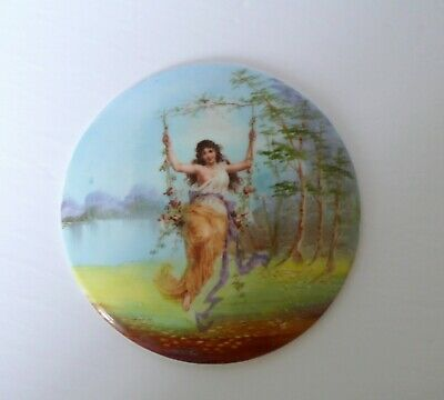 Antique French Limoge Porcelain Plaque Lady On Swing