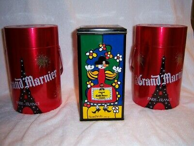 Grand Marnier Liquer Romero Britto Embossed Colourful 1990 And Red Tin Set Of 3