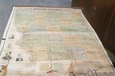 1906 Hardacre Adams County Illinois Plat Map Canvas Historical Genealogy Vintage