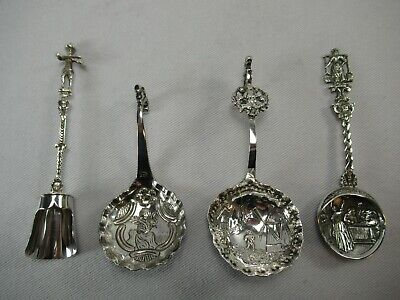 Lot of Four Ornate Dutch Solid 835 Purity Silver Sugar Caddy Shovel Spoons