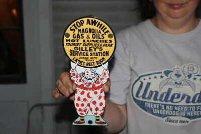Magnolia Gas & Oil Gas Oil Gilley's Service Station Clown Porcelain Metal Sign