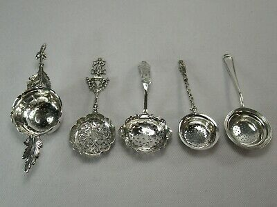 Lot of Five Ornate Figural Dutch Solid 835 Purity Silver Tea Strainers Sifters