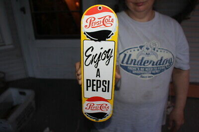 Pepsi Cola Soda Pop Gas Oil Porcelain Metal Sign