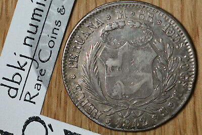 1842 LIMAE MB Peru - 8 Reales - Silver Coin - Extra Fine - KM 142.10