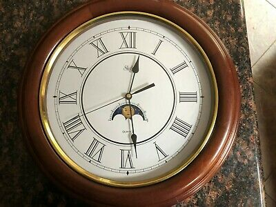 "Vtg Sligh 16"" Diameter Solid Wood Wall Clock Works Great Very Good Condition"