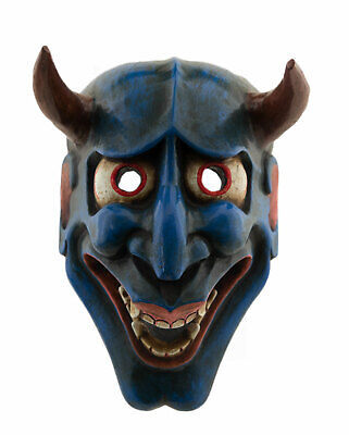 Mask Oni Blue Devil No. Demon Japanese Wood Devil Noh Kyougen 25790