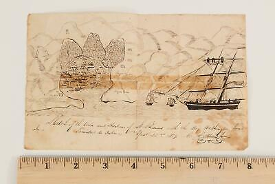 Antique 1839 Maritime Folk Art Map Drawing St Thomas Harbor Ship Brig Washington