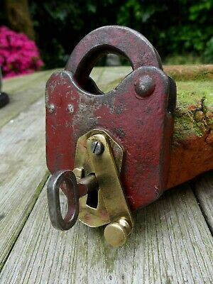 Antique vintage padlock with one key, working order, collector, hobby 17-12