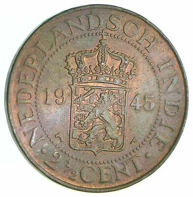 Better Date - 1945 Netherlands East Indies 2 1/2 Cents *081