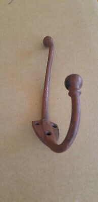 Reclaimed Victorian Cast Iron Double Coat Hat Hook 23cms Shield Base Plate