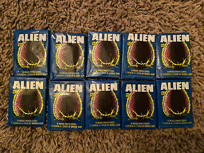 1979 Topps ALIEN Movie 10 Factory Sealed Wax Packs Gum Trading Cards/Sticker/Gum