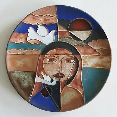 Decorative Plate Ceramic Composition Geometric Doves 1970 Country Of East