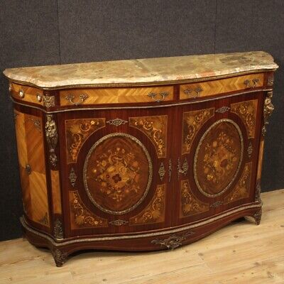 Cupboard Furniture Dresser Wooden Inlaid Antique Style Napoleon III With Marble