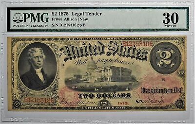 1875 $2 Legal Tender Note Fr 44 Allison/New  Pmg 30 Very Fine