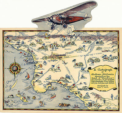 1921 Pictorial Map Cartograph Southern California Wall Art Poster Decor History