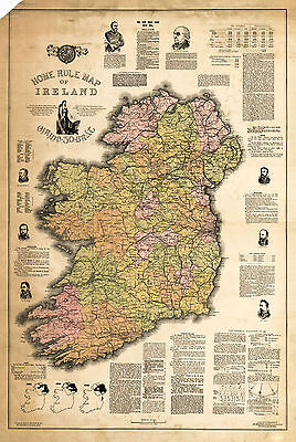1893 Home Rule Map Ireland Jas Ballance Political Irish Vintage History Poster