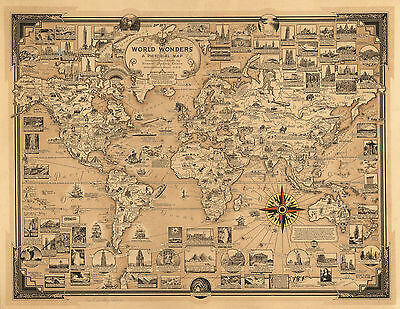 1939 Pictorial Map World Wonders History Home Schooling Wall Poster Print Decor