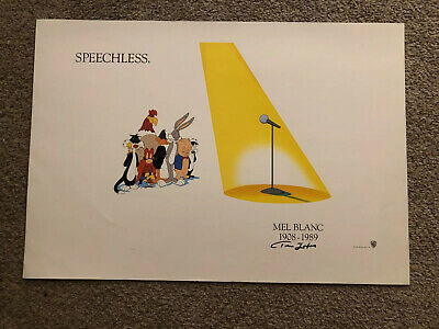 """vintage 1989 Looney Tunes""""Speechless""""Mel Blanc Tribute POSTER Signed By Tom Zoto"""