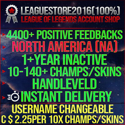 League of Legends Account LOL NA Unranked Lvl 30 All Champs Smurf Skins Acc BE