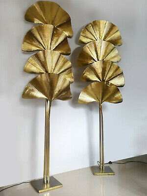 Tommaso Barbi, pair of 4-leaf ginkgo lamps, 1970S