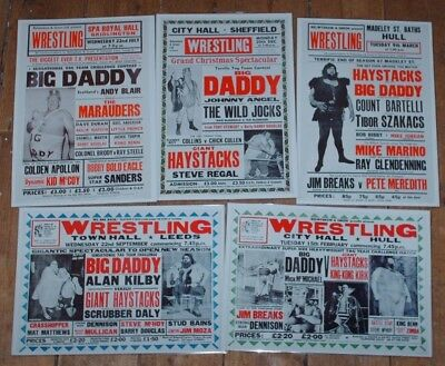 Lot Of 5 British Wrestling Posters 8 X 11 Big Daddy Giant Haystacks Laminated