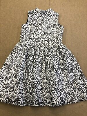 Girls River Island Dress Size 6 Years Floral Design. Black And White