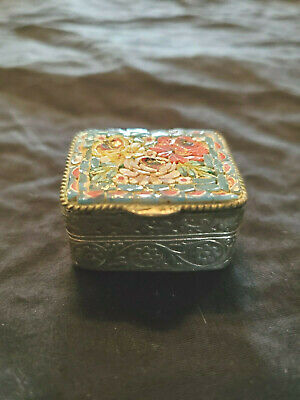 Vintage Italian Mosaic Pill Box with Floral Pattern and Etching on the Sides