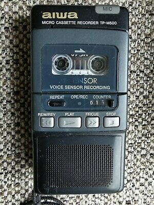 AIWA TP-M500 Microcassette Tape Recorder - Used.  Boxed With Extra Mini...