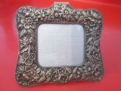 Antique KIRK & SON 925/100 STERLING - REPOUSSE  PICTURE FRAME - Old Patina