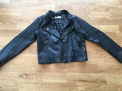 Girls Black H&M Faux leather Biker Jacket Age 8-9 Years