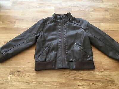 Girls Brown Faux Leather Jacket Age 6 Years