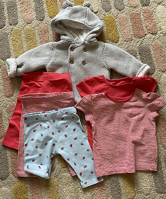 Mark And Spencer Leggings Top Cardigan Red Grey 0-3 Months Baby Girl