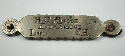 Vintage Early EAST RINDGE, NH Dog Collar License Dog Tag ~ H.C. Smith