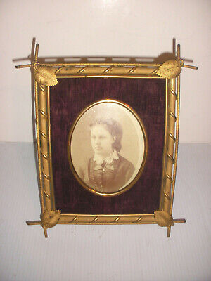 """Antique brass arts and crafts picture frame apprx 9""""x8"""" for 4.5"""" x 3.5"""""""