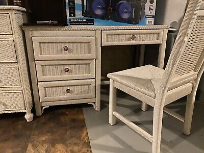 Original Henry Link Vintage High End White Wicker Desk With Matching Chair